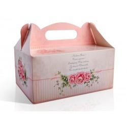 Ozdobne pudełko na ciasto weselne, różowe 1szt