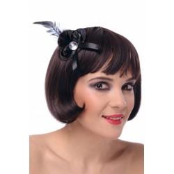 Mini kapelusz brokatowy czarny