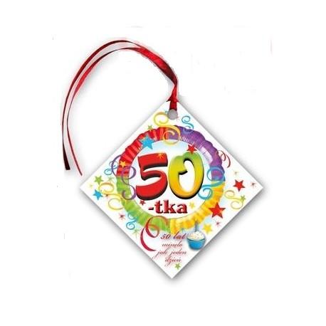 Zawieszka 50 Lat Kwadrat 1szt Ahahapl Party Shop