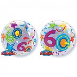 """Balon foliowy bubbles 22"""" 60 urodziny, 56cm"""